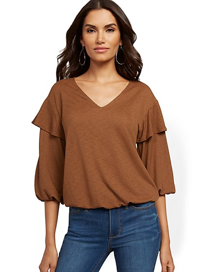 Ruffled V-Neck Top - New York & Company