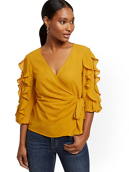 Ruffled V-Neck Wrap Blouse - New York & Company