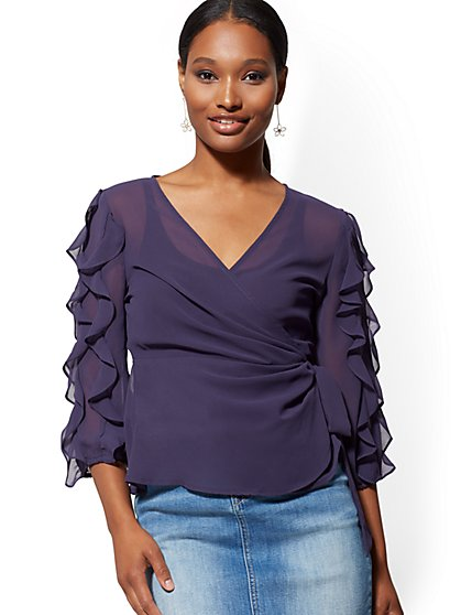 Ruffled Wrap Blouse - New York & Company