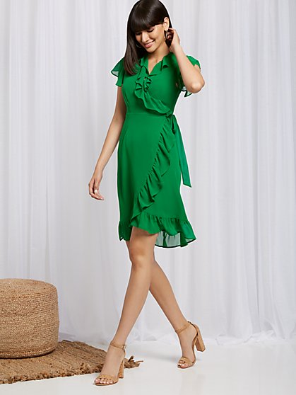Ruffled Wrap Dress - Sweet Pea - New York & Company