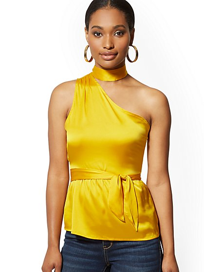 Satin Choker-Neck One-Shoulder Blouse - New York & Company