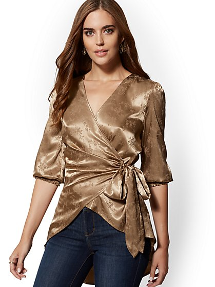 Satin Tie-Front Wrap Jacket - New York & Company