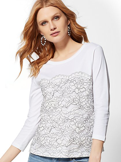 Scalloped Lace-Front Top - New York & Company