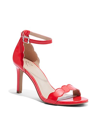 Scalloped-Trim Ankle-Strap Sandal - New York & Company