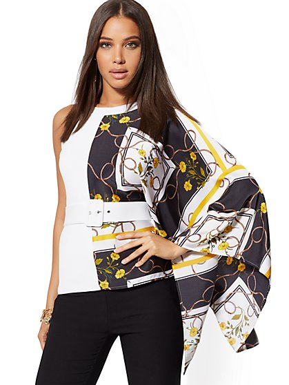 Scarf-Print One-Shoulder Sweater - 7th Avenue - New York & Company