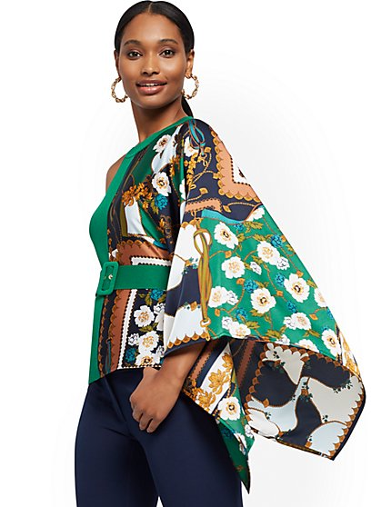 Scarf-Print One-Shoulder Top - 7th Avenue - New York & Company