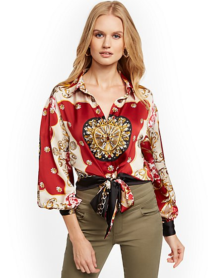 Scarf-Print Twist-Front Blouse - New York & Company