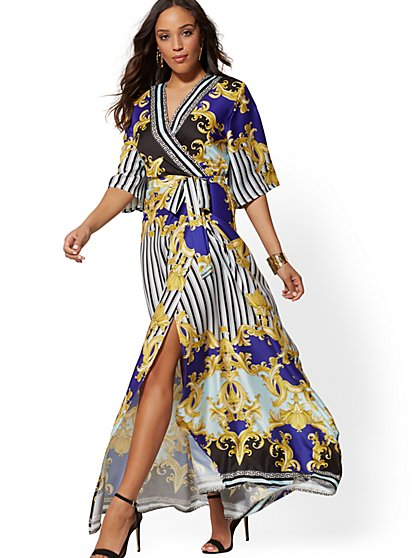 Scarf Print Wrap Maxi Dress - New York & Company