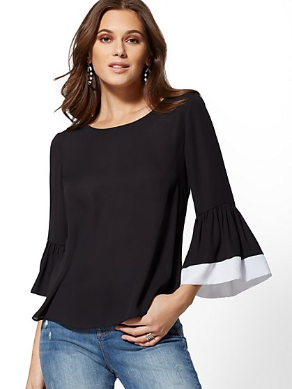 Scoopneck Bell-Sleeve Blouse - New York & Company