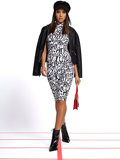 Script-Print Mock-Neck Sheath Dress - New York & Company