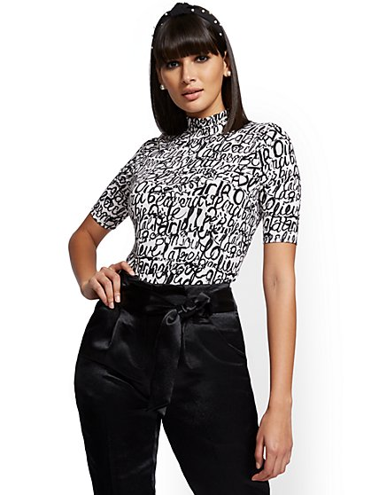 Script-Print Mock-Neck Top - 7th Avenue - New York & Company