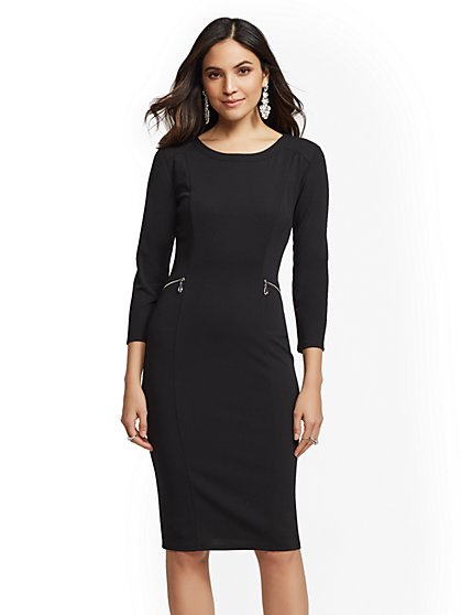 Scuba Crepe Zip-Accent Sheath Dress - New York & Company