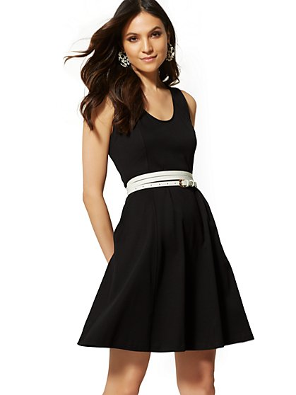 Seamed Cotton Fit and Flare Dress - New York & Company