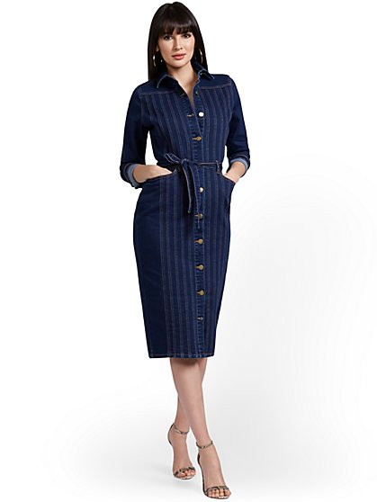 Seamed Denim Midi Dress - New York & Company
