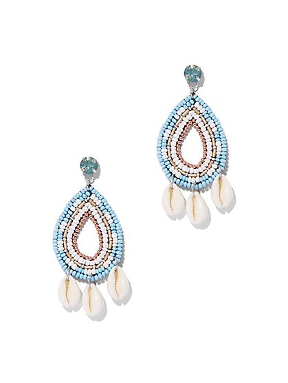 Seed Bead & Cowrie Shell Drop Earring - New York & Company