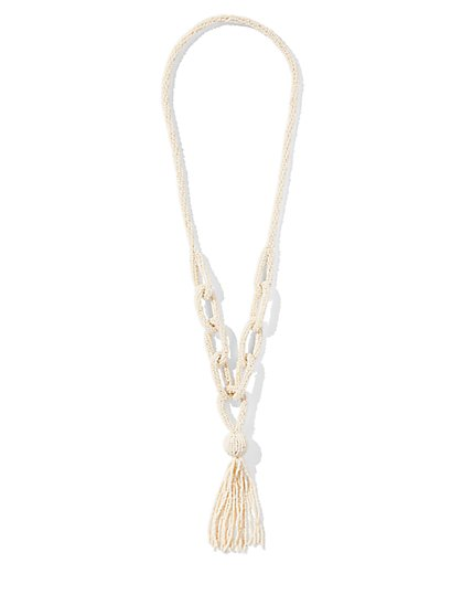 Seed Bead Lariat Necklace - New York & Company