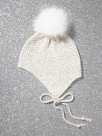 Seed-Stitch Pom-Pom Hat - New York & Company