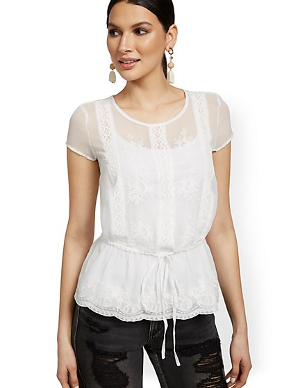 Semi-Sheer Embroidered Peplum Blouse - New York & Company