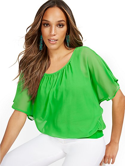 Semi-Sheer Flutter Dolman-Sleeve Top - New York & Company