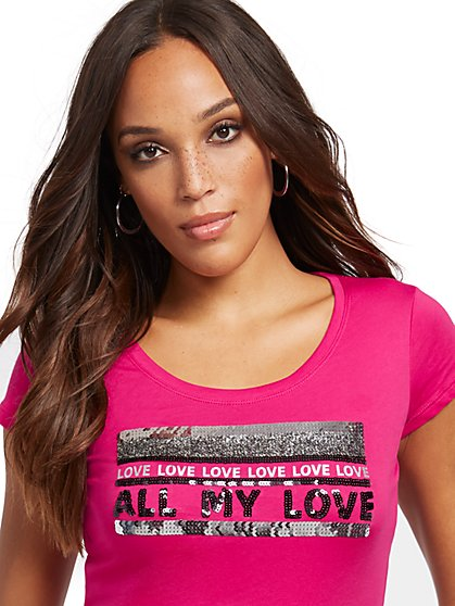 "Sequin ""All My Love"" Graphic Tee - New York & Company"
