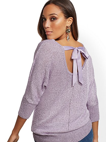 Sequin Bow-Back Sweater - New York & Company