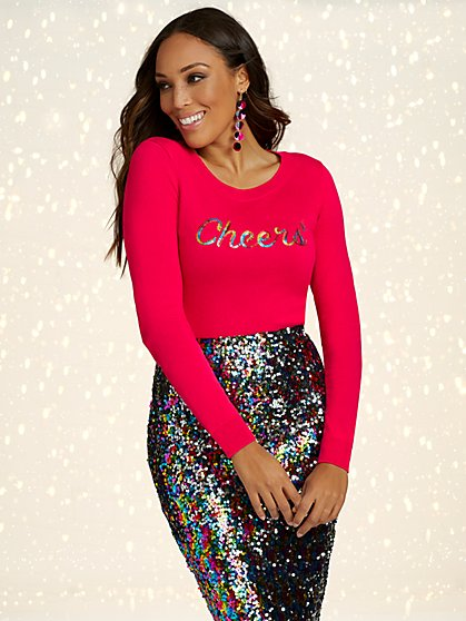 "Sequin ""Cheers"" Crewneck Sweater - New York & Company"