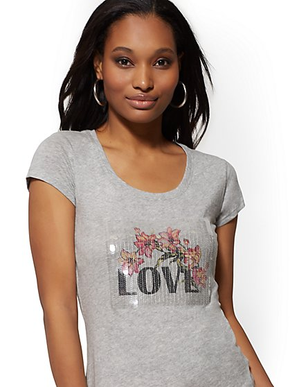 "Sequin Floral ""Love"" Graphic Logo Tee - New York & Company"