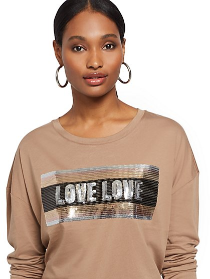 "Sequin ""Love"" Graphic Tee - New York & Company"