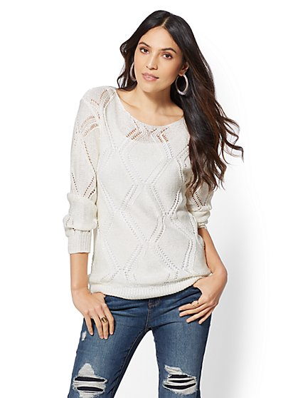 Sequin Open-Stitch Sweater - New York & Company