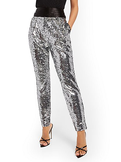 Sequin Slim-Leg Pant - New York & Company