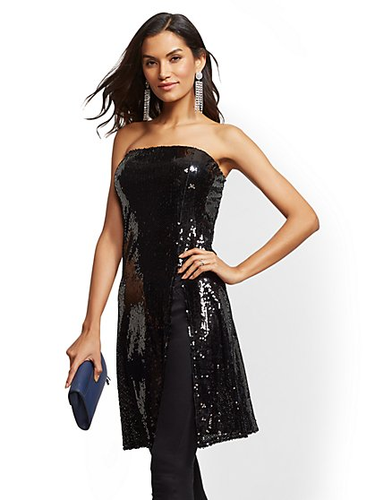 Sequin Strapless Tunic Top - New York & Company