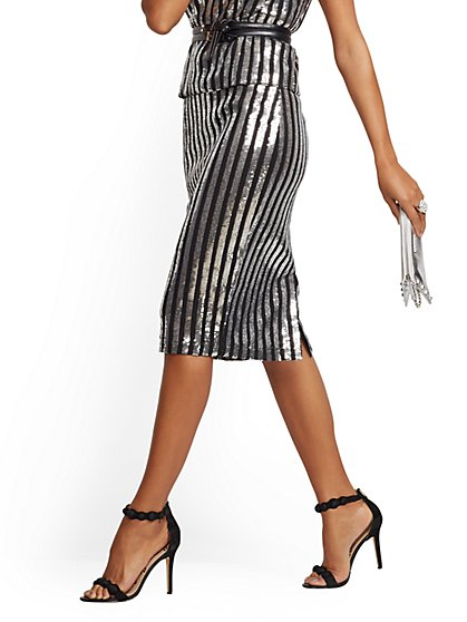 Sequin Stripe Pencil Skirt - New York & Company
