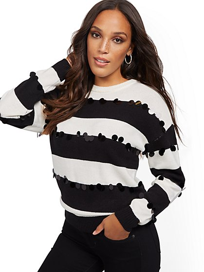 Sequin Stripe Sweater - New York & Company