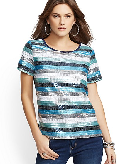 Sequin Stripe Top - New York & Company