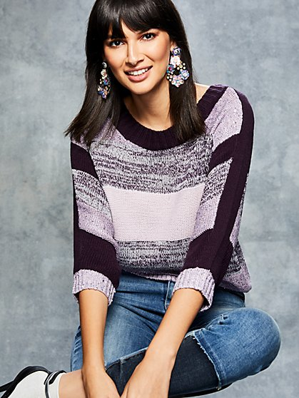 Sequin Stripe Tunic Sweater - New York & Company