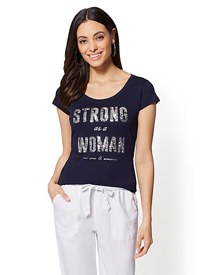 "Sequin ""Strong as a Woman"" Graphic Logo Tee - New York & Company"