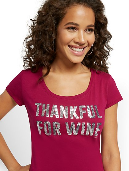 "Sequin ""Thankful for Wine"" Graphic Tee - New York & Company"