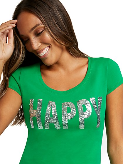 "Sequined ""Happy"" Graphic Tee - New York & Company"