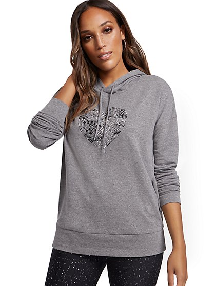 Sequined Heart Graphic Hooded Sweatshirt - New York & Company
