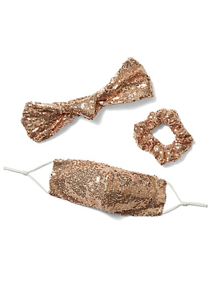 Sequined Mask, Scrunchie & Hairband 3-Piece Set - New York & Company