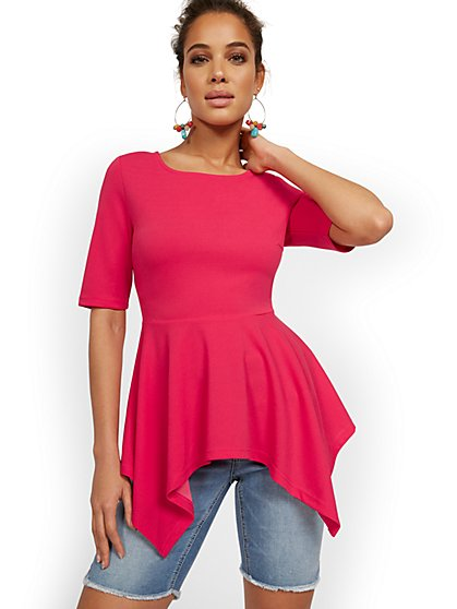 Sharkbite-Hem Elbow-Sleeve Top - New York & Company