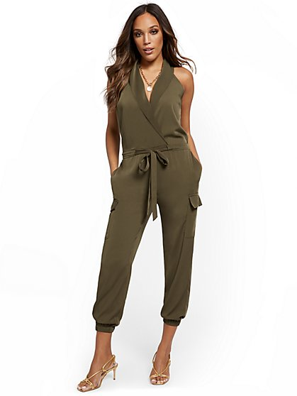 Shawl-Collar Tie-Front Jumpsuit - New York & Company