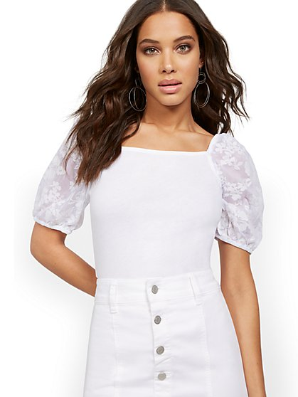 Sheer Puff-Sleeve Top - New York & Company