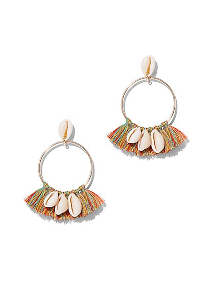 Shell & Tassel Hoop Drop Earring - New York & Company