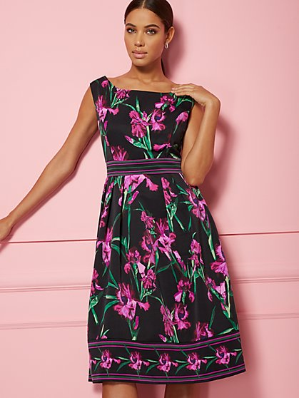 Sherie Floral Fit and Flare Dress - Eva Mendes Party Collection - New York & Company