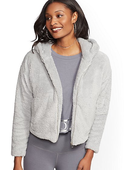 Sherpa Hooded Zip-Front Jacket - Soho Street - New York & Company