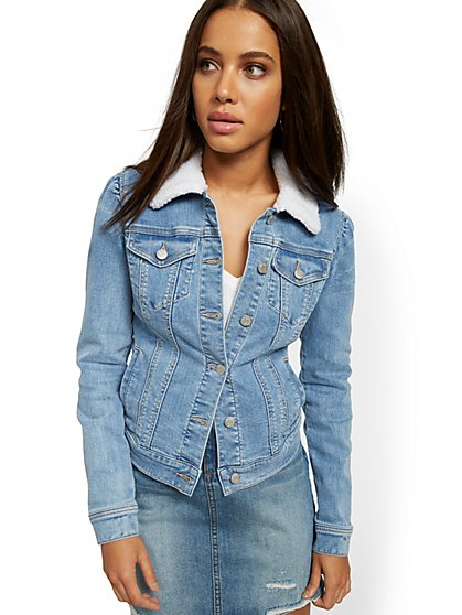 Sherpa-Lined Denim Jacket - Lavish Blue - New York & Company