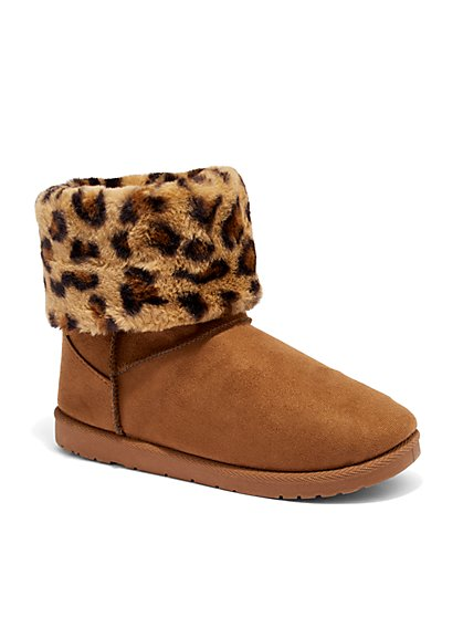 Sherpa Puff Cuff Short Boot - Leopard-Print - New York & Company