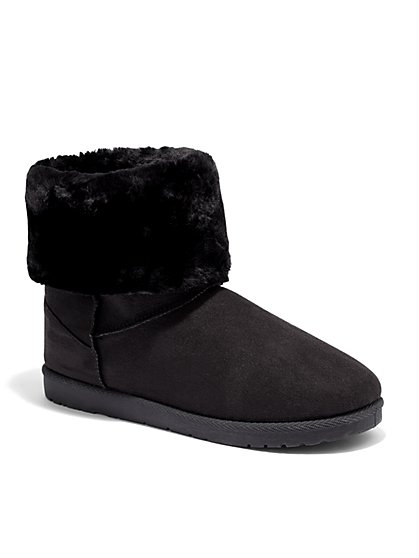 Sherpa Puff Cuff Short Boot - New York & Company