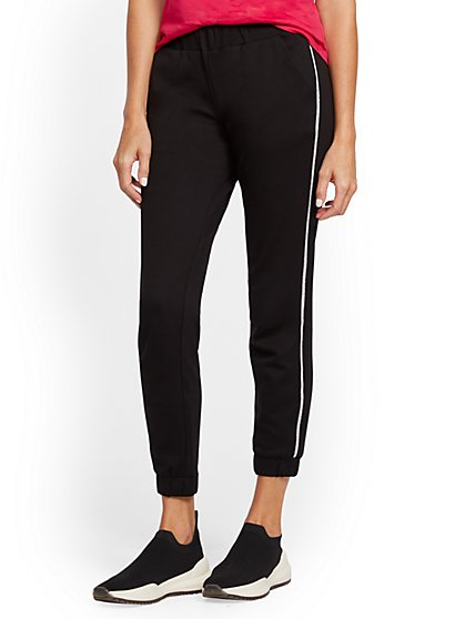 Shimmer-Stripe Ponte Jogger Pant - New York & Company